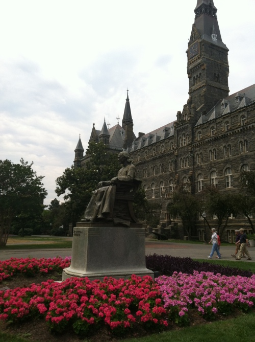 Georgetown's founder Bishop John Carroll in front of the Healy Buiding.