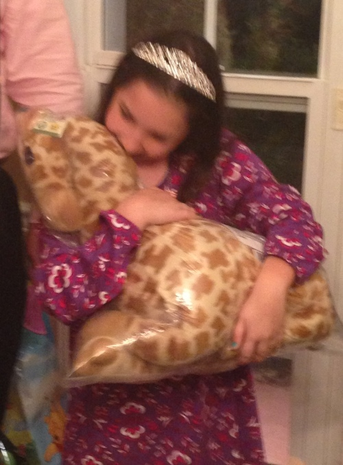 Stuffed giraffe she received from Aunt Betsy and Uncle Andy this year