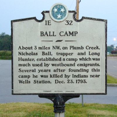 Marker for Ball Camp, strangely not located anywhere near it