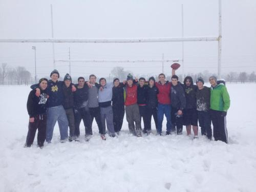 Teddy and friends at Notre Dame after a game of snow football--photo credit Jake Wittenberg