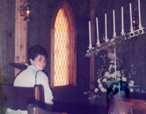 My roommate, Renee, in the Gatlinburg wedding chapel, March 1986