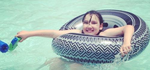 Lorelei's first swim of the summer