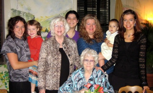 Me holding Lorelei in a four generations photo taken in 2006