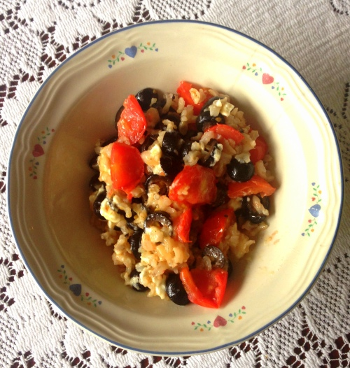 Food brown rice olives feta