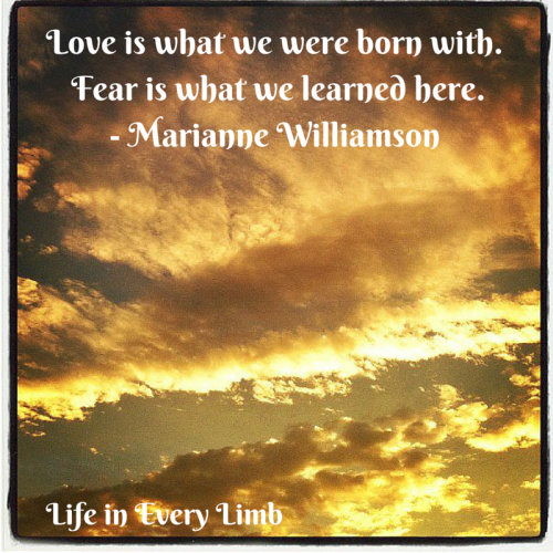 Love is what we were born with. Fear is what we learned here.- Marianne Williamson
